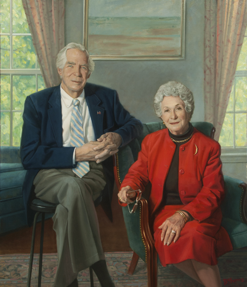Dr. and Mrs Donald Lindberg, director, National Library of Medicine, oil portrait, NIH portrait, National Library of Medicine portrait