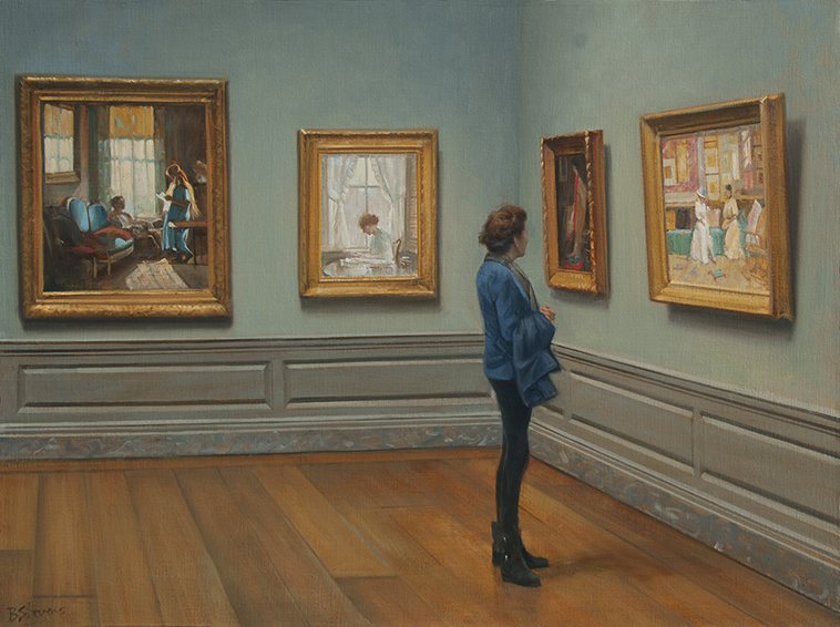 Communion, museum interior painting, oil painting, National Gallery interior, people looking at art, William Merritt Chase A Friendly Call, National Gallery of Art Washington, D.C.