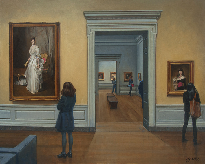 Inspiration, museum interior painting, oil painting, National Gallery Interior, people looking at art, John Singer Sargent portrait, Mrs. Henry White, Margaret Stuyvesant Rutherford White, National Gallery of Art Washington D.C.