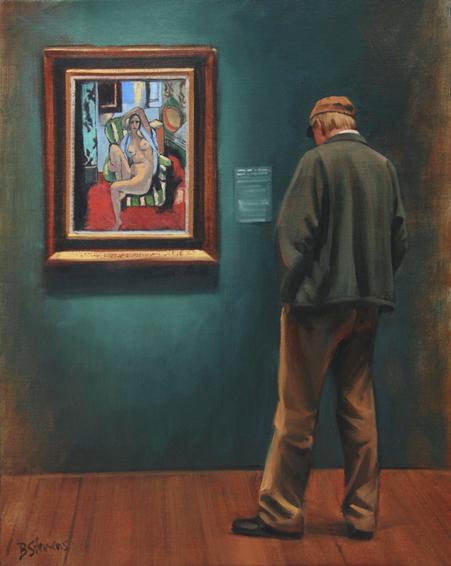 admiring matisse, interior painting, oil painting, figurative painting, museum interior, De Young Museum, Matisse, Odalisque