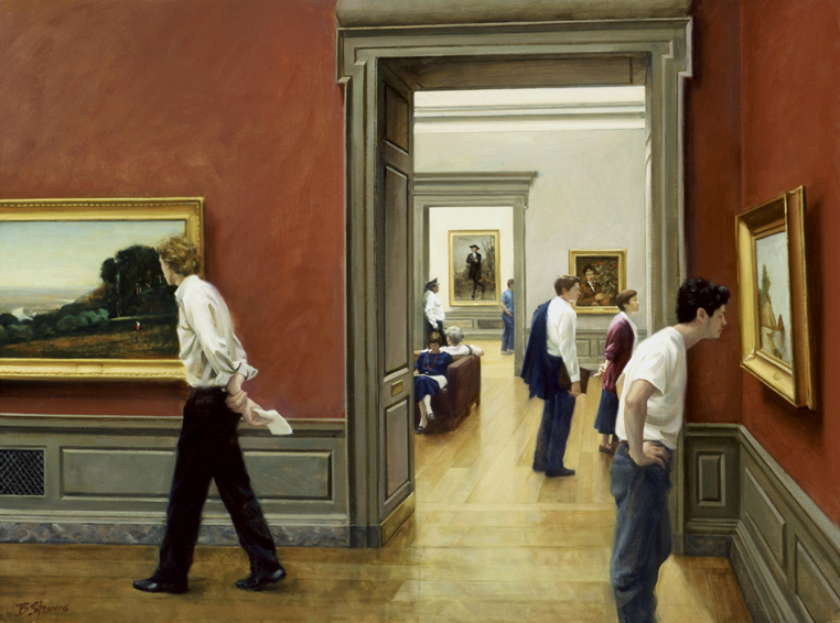 the american school, interior painting, oil painting, museum interior, figurative painting, National Gallery of Art Washington DC