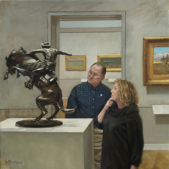 go-west, museum interior painting, oil painting, people looking at art, Frederic Remington The Bronco Buster, Metropolitan Museum of Art