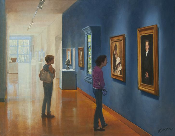 sisterhood, oil painting, museum interior painting, Frye Art Museum, people looking at art