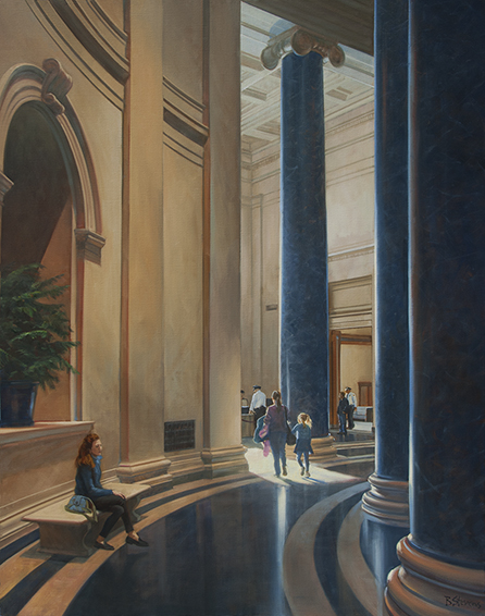 towards-the-light, oil painting, museum interior painting, interior of the National Gallery of Art, National Gallery of Art rotunda, painting of people in museums