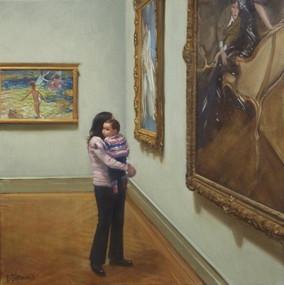 los-nonos, museum interior painting, oil painting, people looking art art, Metropolitan Museum of Art, Joaquin Sorolla, Giovanni Bolding