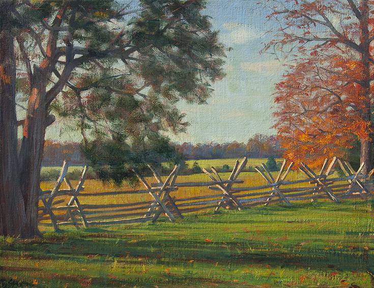 battlefield-light, Manassas National Park, Bull Run, autumn landscape, oil painting, realism, pastoral landscape,  Civil War battlefield.