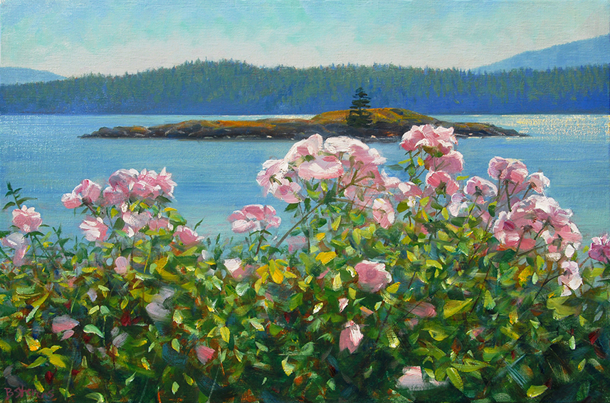in-the-pink, landscape painting, oil painting, Pacific Northwest landscape painting, Orcas Island
