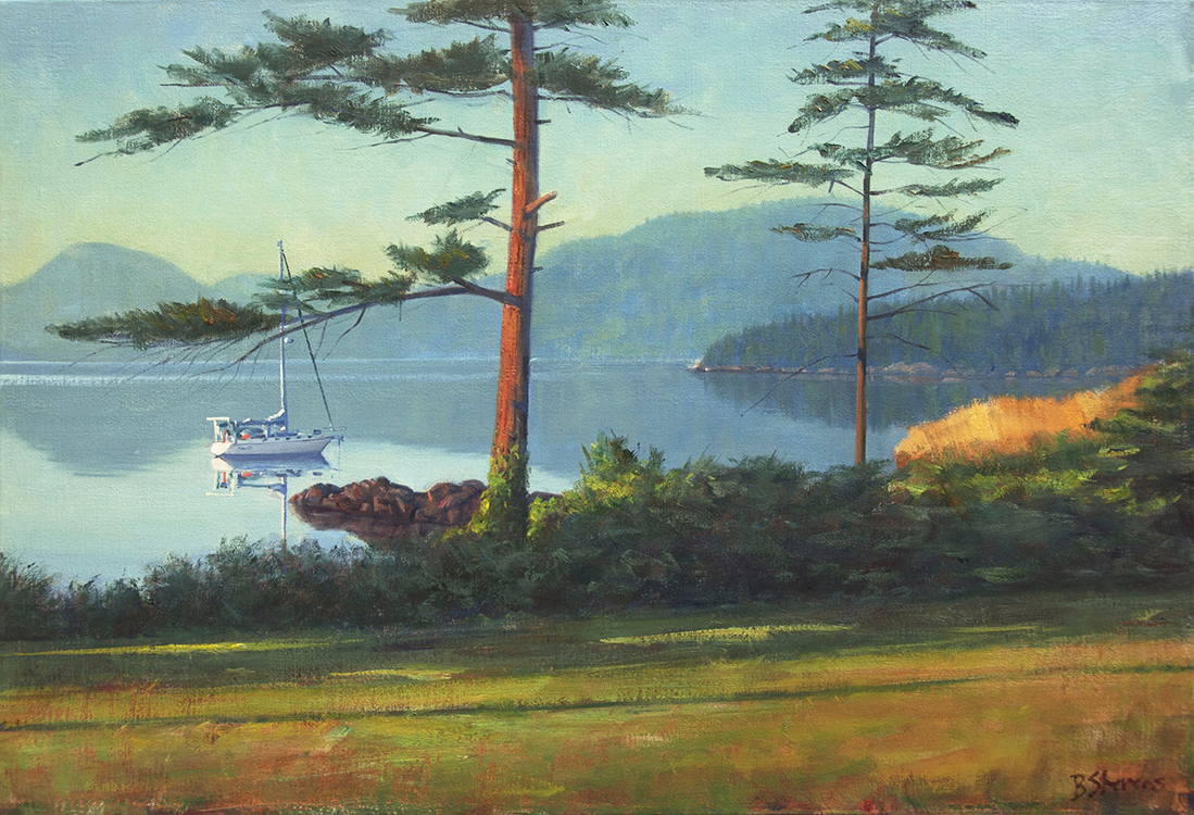 still-morning, Pacific Northwest landscape painting, Western landscape painting, oil painting, San Juan Islands, Orcas Island, Eastsound waterfront park, Eastsound WA, sailboat painting, Fishing Bay