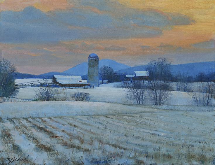 winter-calm, realistic oil painting, Winter landscape, Virginia Piedmont, Farm landscape.