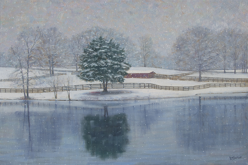 winter-pond, virginia landscape painting, oil painting, Virginia Piedmont in the snow, snow painting, winter landscape painting, pond reflections
