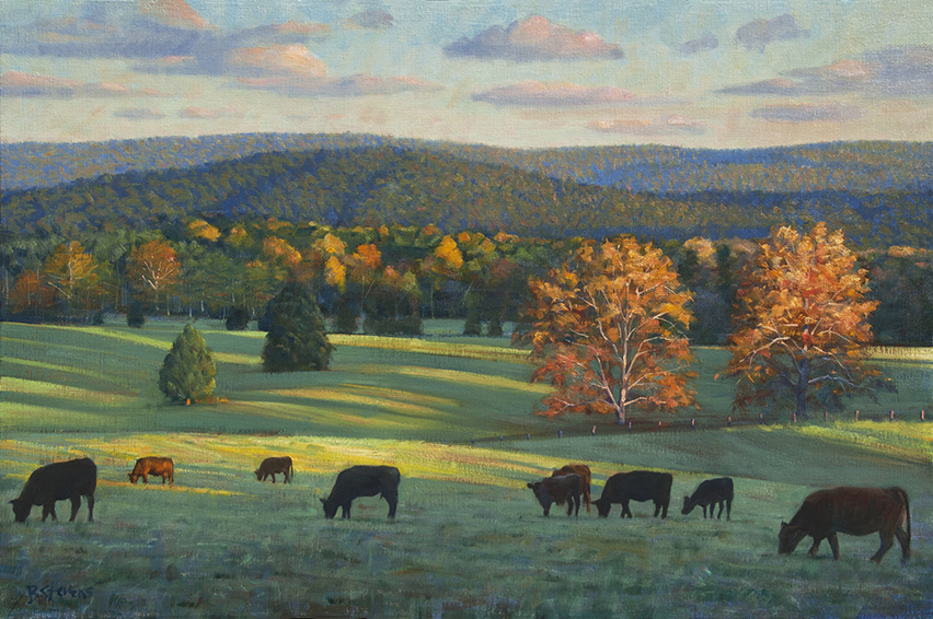 autumn-grazing, landscape painting, oil painting, Virginia landscape