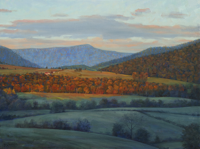 autumn-sunrise, landscape painting, oil painting, Virginia landscape painting