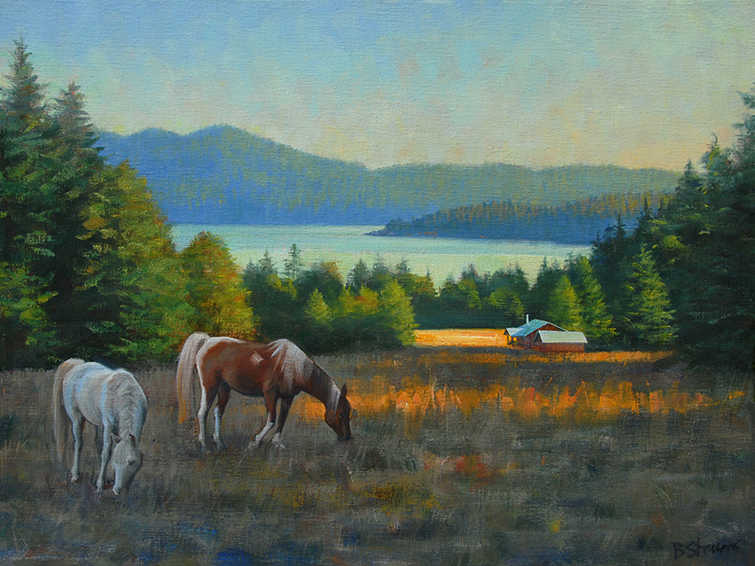 orcas-grazing, landscape painting, oil painting, Pacific Northwest landscape painting, Orcas Island