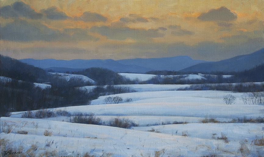 snow-in-the-piedmont, landscape painting, oil painting, Virginia landscape painting