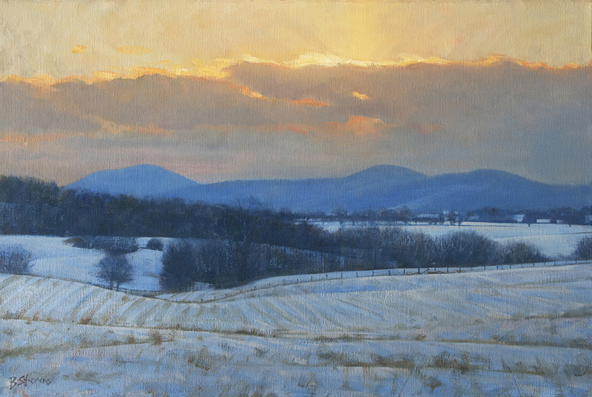 winter-meditation, landscape painting, oil painting, Virginia landscape painting, winter landscape painting
