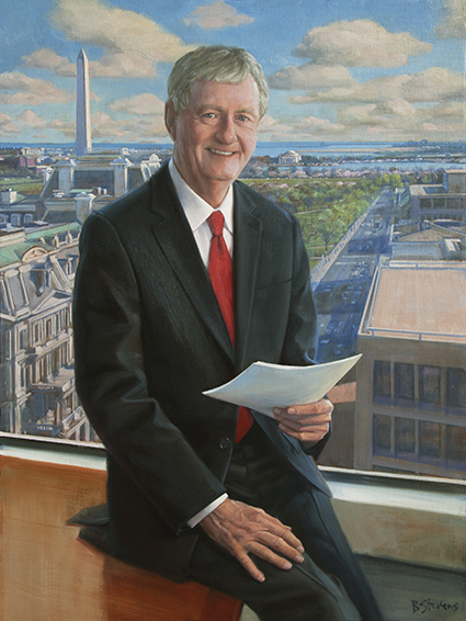 Ted Groom, Founder, Groom Law Group, professional oil portrait, Attorney, lawyer portrait.
