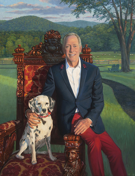 Chef Patrick O'Connell, chef and founder, The Inn at Little Washington, portrait of Patrick O'Connell with his Dalmatian Luray, oil portrait, 3 star michelin chef, James Beard Lifetime Achievement award recipient,