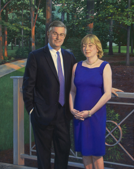 david and june trone, CEO, Total Wine and More, philanthropist, benefactor, Furman University, oil portrait, philanthropist portrait