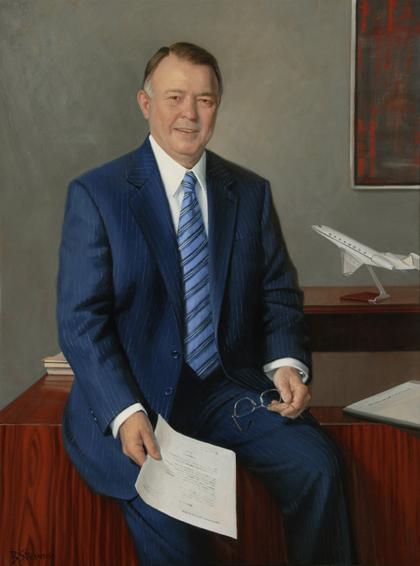 nicholas chabraja, lawyer, chairman, CEO, General Dynamics, oil portrait, executive portrait, chairman portrait