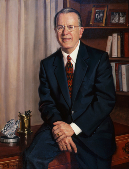 f. david fowler, dean, School of Business, George Washington University, oil portrait, academic portrait, dean's portrait, dean of business school portrait