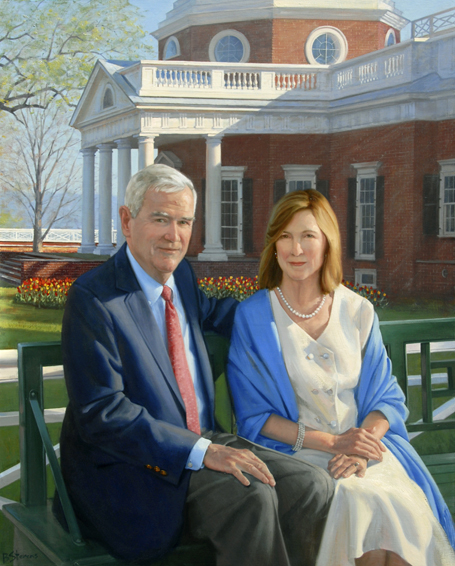 dan and lou jordan, president, Thomas Jefferson Foundation, Monticello, oil portrait, philanthropist portrait