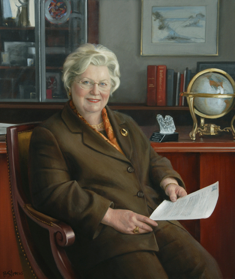 susan phillips, dean, School of Business, George Washington University, oil portrait, academic portrait, dean of business school portrait, dean's portrait