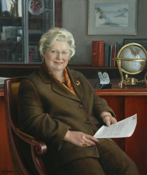 susan phillips, dean, School of Business, George Washington University, oil portrait, academic portrait, dean of business school portrait, dean's portrait