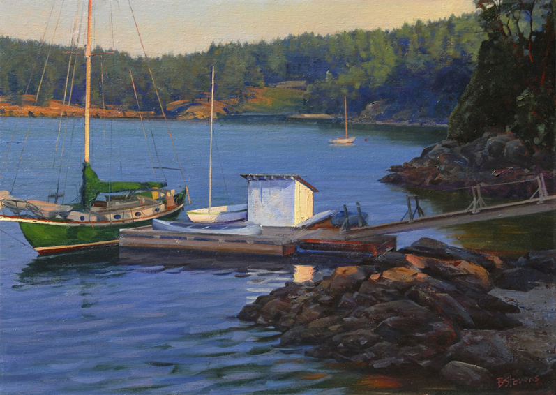 early morning west sound, landscape painting, oil painting, Orcas Island, Massacre Bay, sailboat painting, Pacific Northwest landscape, San Juan Islands