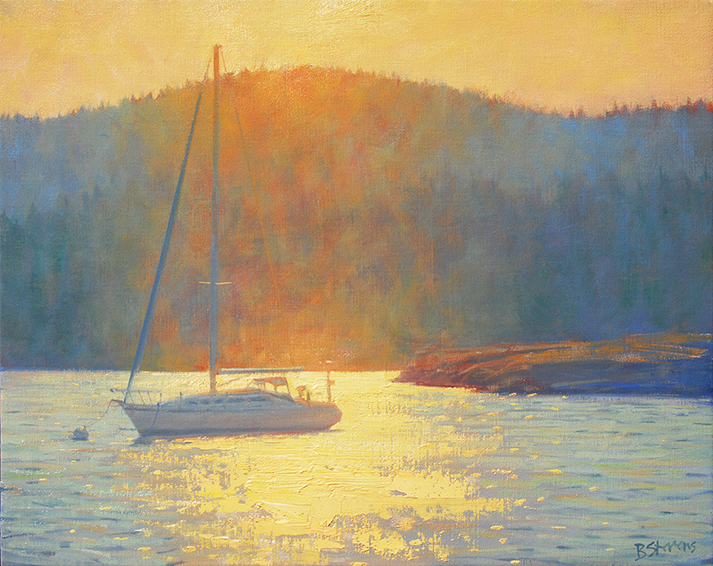 evening mooring, Pacific Northwest landscape painting, oil painting, landscape painting, sailboat painting, Fishing Bay Orcas Island, Madrona Point, Indian Island, Eastsound WA, Orcas Island water painting