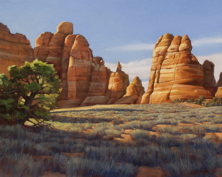into the light, landscape painting, oil painting, Southwest landscape, Canyonlands National Park Utah, national park painting, desert landscape, red rock formations