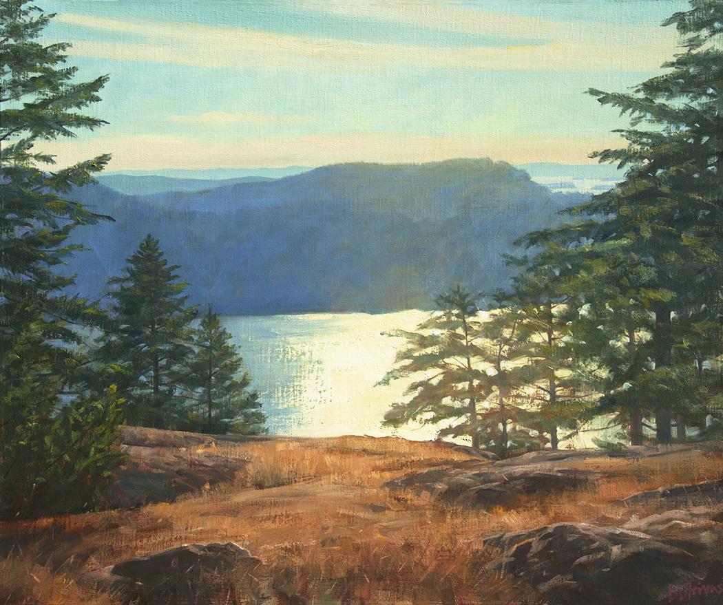 looking-west, oil painting, Pacific Northwest landscape painting, Western landscape, Orcas Island, San Juan Islands