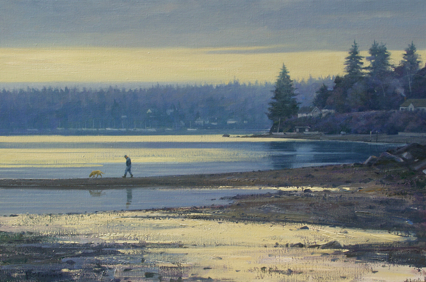 low tide, landscape painting, oil painting, Pacific Northwest landscape, Vashon Island WA, Maury Island WA