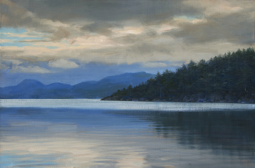 mood indigo, landscape painting, oil painting, Pacific Northwest landscape painting, Orcas Island painting, Crescent Beach Orcas Island, Mt Woolard, water reflections, moody landscape painting