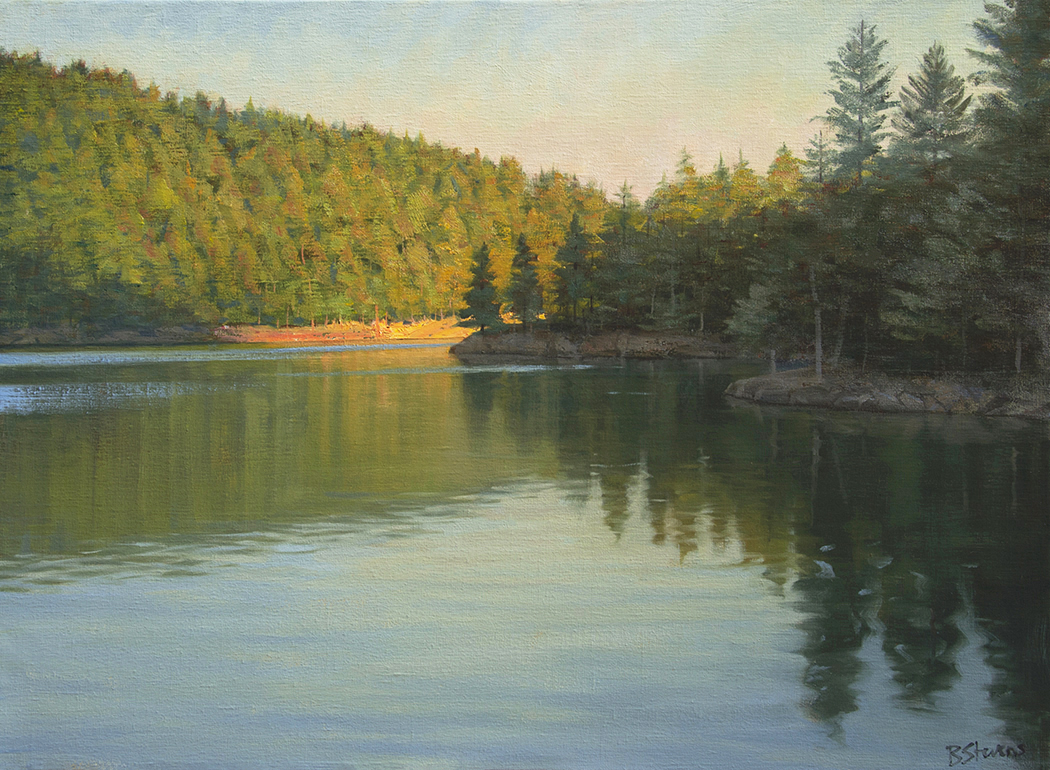 mountain-lake-reflections, oil painting, Pacific Northwest landscape painting, Western landscape, Orcas Island, Moran State Park, Mountain Lake, San Juan Islands