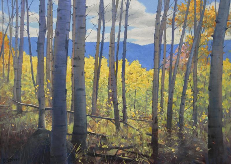 aspen grove, landscape painting, oil painting, Western landscape, Wyoming landscape, aspen trees