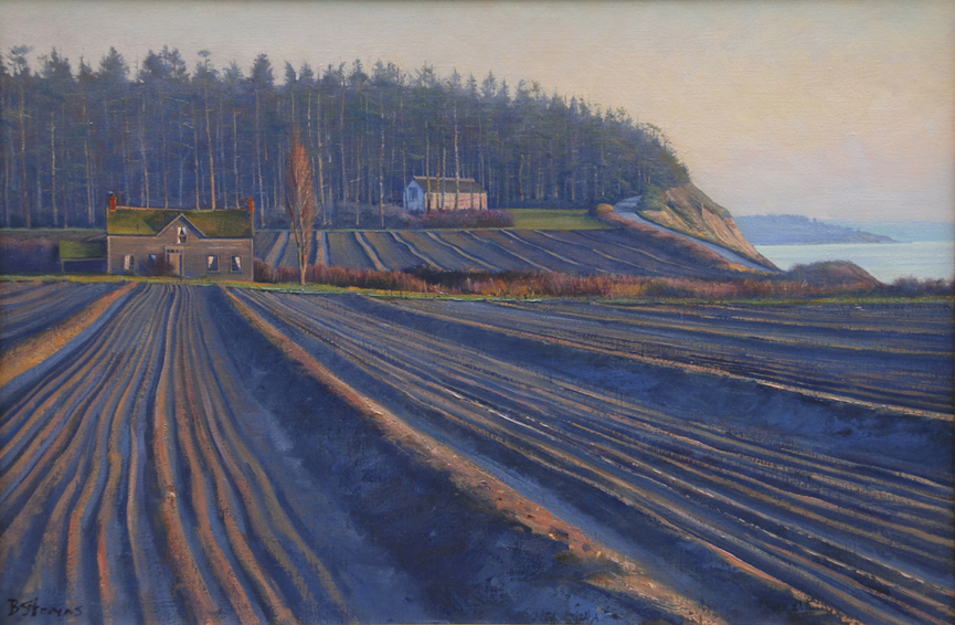december twilight, landscape painting, oil painting, Whidbey Island landscape, Ebey's Landing, Colonel Ebey homestead