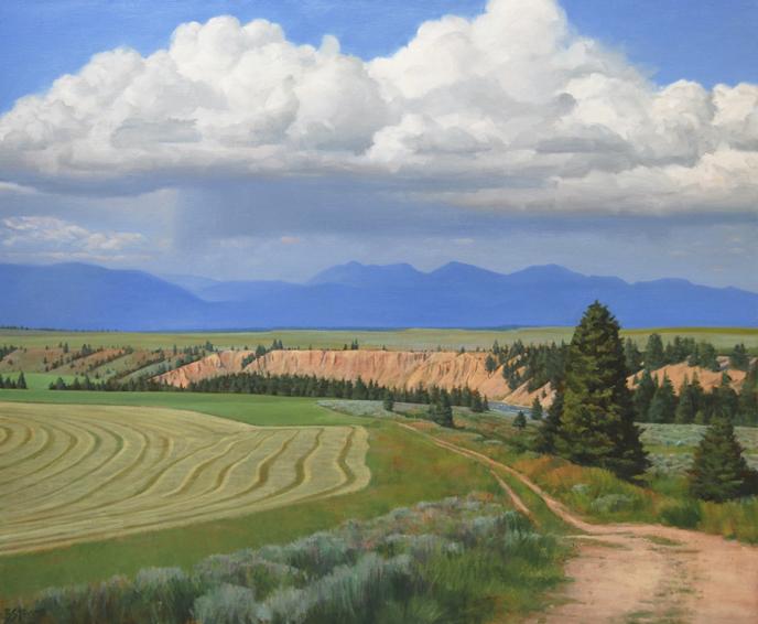 distant storm, landscape painting, oil painting, Western landscape painting, Montana sky, Montana landscape