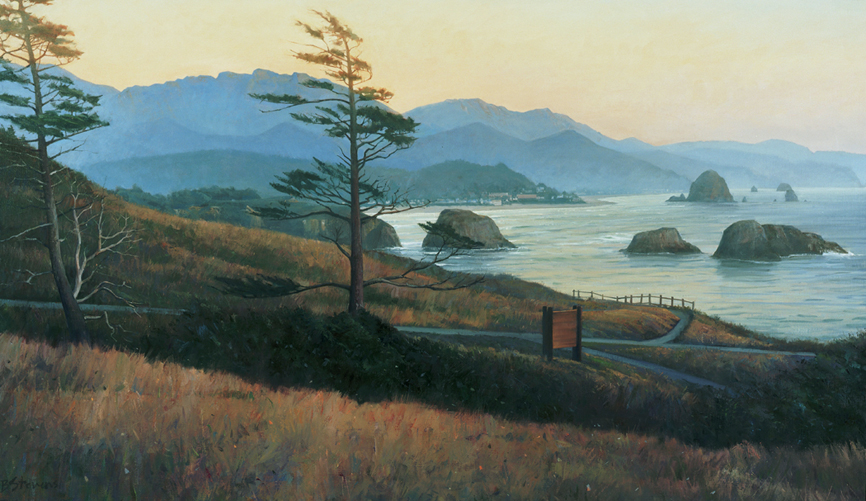 ecola afterglow, landscape painting, oil painting, Ecola State Park, Cannon Beach Oregon, Pacific Northwest landscape, Canon Beach haystacks, Oregon Coast