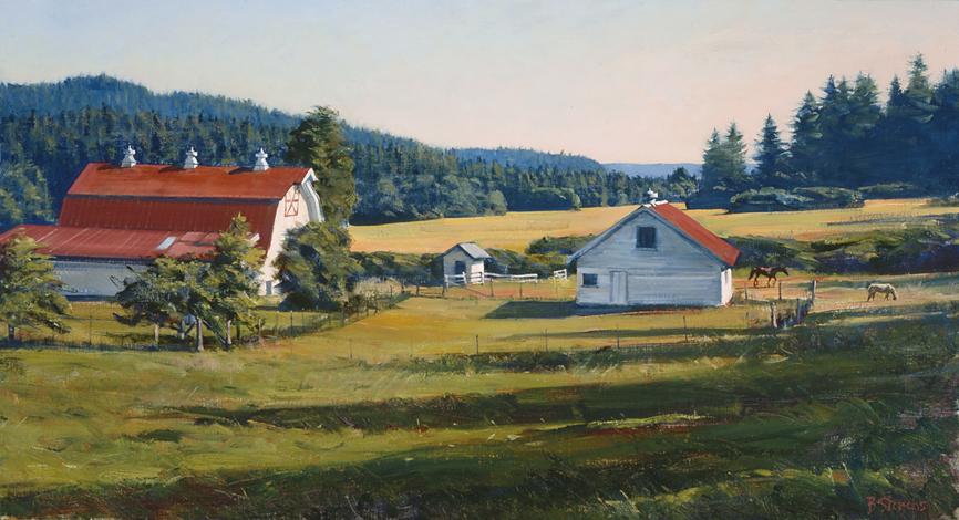 encroaching shadows, landscape painting, oil painting, Orcas Island landscape, Crow Valley landscape, San Juan Islands WA