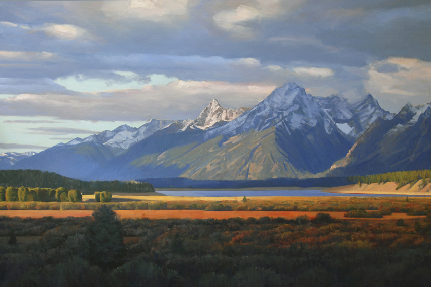 force of nature, landscape painting, oil painting, Grand Tetons, Grand Teton National Park, Wyoming landscape, Western landscape, mountain landscape