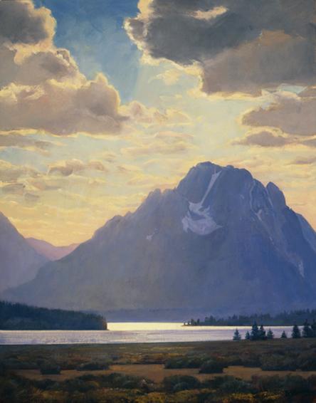 illumination on moran, landscape painting, oil painting, Grand Teton National Park, Western landscape painting, Wyoming landscape, Mt Moran painting