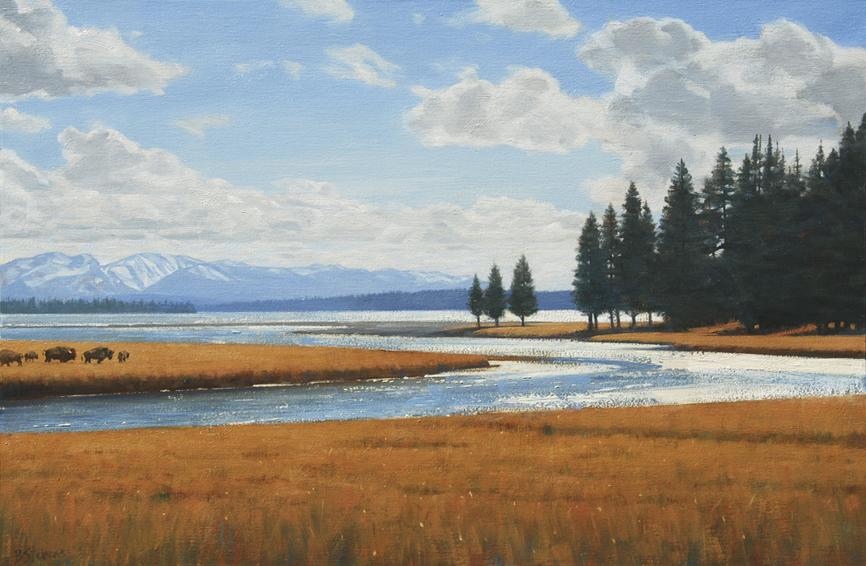 indian summer at yellowstone, yellowstone, landscape painting, oil painting, Yellowstone Lake