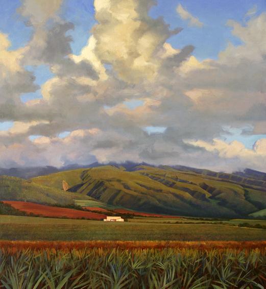 kahana sky, landscape painting, oil painting, Maui landscape, Hawaii landscape, Kahana Maui, Maui pineapple fields