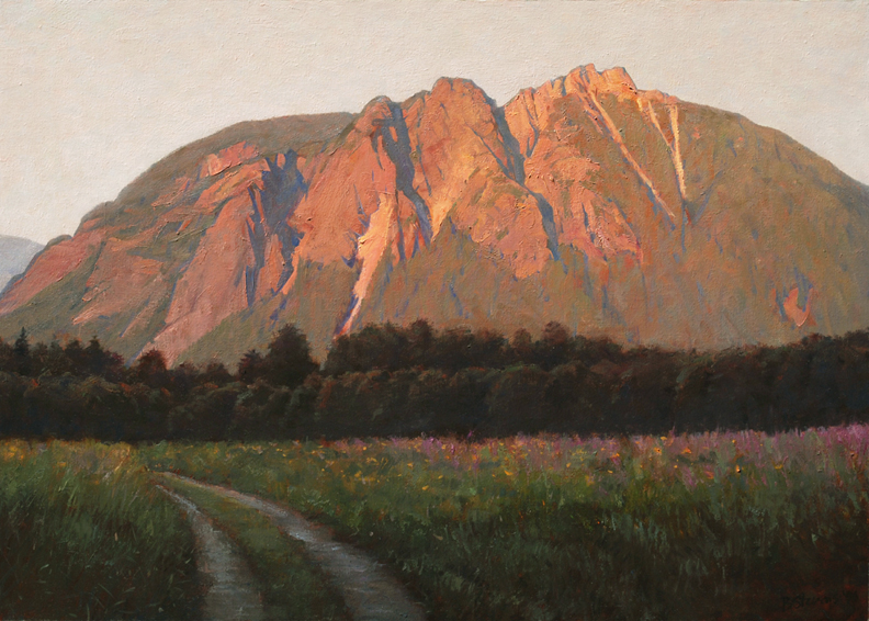 last light at mount si, landscape painting, oil painting, Pacific Northwest landscape, Mt. Si, Snoqualmie Valley
