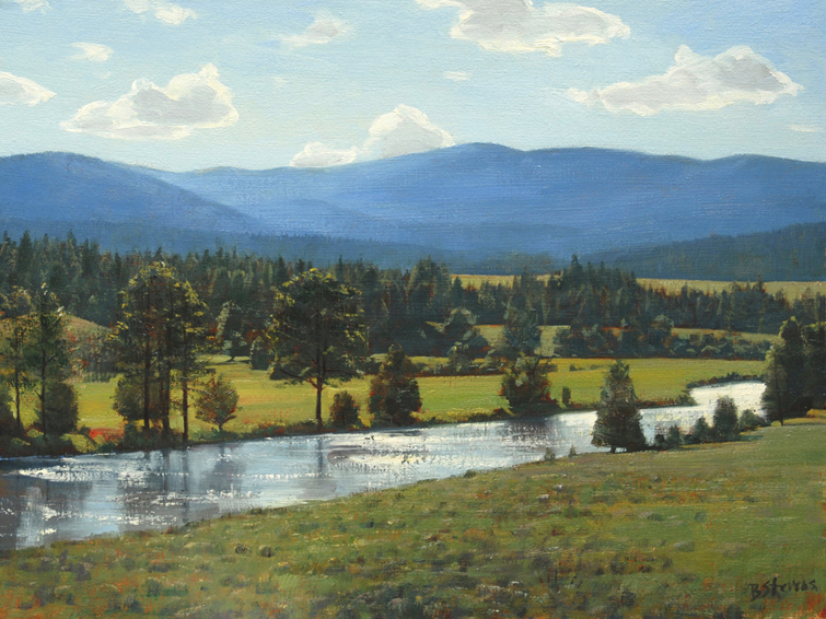light on the blackfoot, landscape painting, oil painting, Western landscape, Blackfoot River, Montana landscape