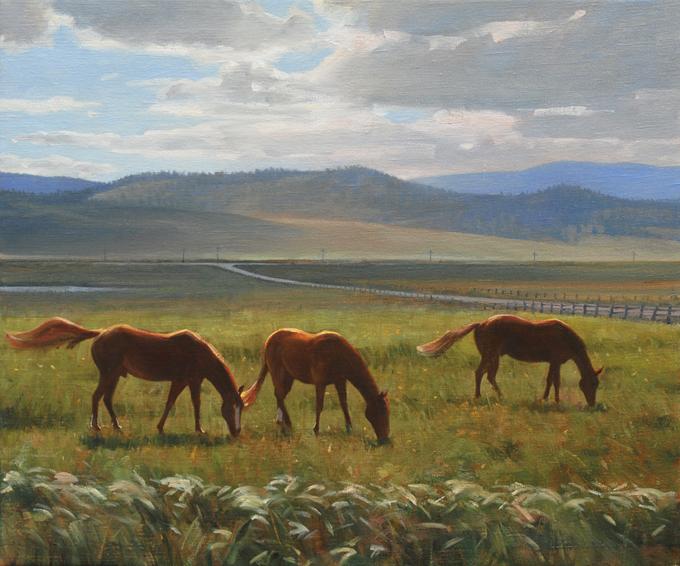 montana winds, montana, landscape painting, oil painting, Western landscape painting, horse painting, Montana horses, Montana landscape