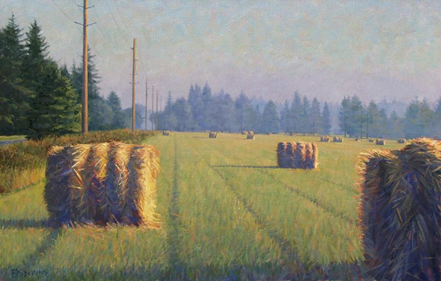 morning's perspective, landscape painting, oil painting, Orcas Island landscape, hayroll landscape, Pacific Northwest landscape