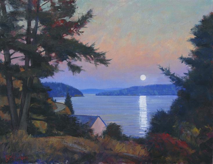 orcas moonrise, landscape painting, oil painting, Orcas Island landscape, San Juan Islands WA