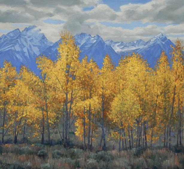 teton gold, landscape painting, oil painting, Western landscape painting, Grand Teton National Park, aspen trees in autumn
