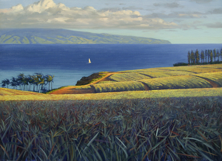 towards molokai, landscape painting, oil painting, Hawaii, Maui, pineapple fields, north shore maui, view of molokai, Maui landscape painting, Hawaiian landscape painting